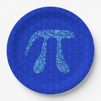 Blue Pi Symbol Math Geek Science Nerd Pi Day Party 9 Inch Paper Plate