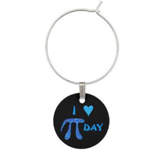 Blue Pi Symbol Math Science Geek I Heart Pi Day Wine Charm