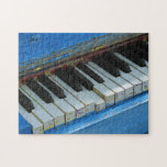 """Blue Piano Jigsaw Puzzle<br><div class=""""desc"""">A blue piano along the 16th street mall in Denver Colorado. There are several pianos along the mall that people can play.</div>"""