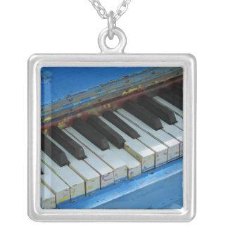 Blue Piano Square Pendant Necklace