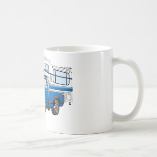 Blue Pick Up Camper Cartoon Coffee Mug