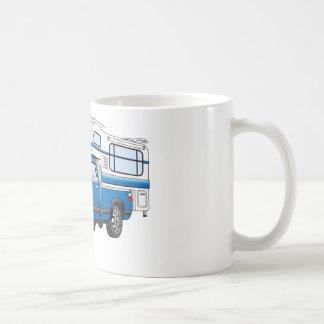 Blue Pick Up Camper Cartoon Coffee Mug