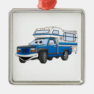 Blue Pick Up Camper Cartoon Metal Ornament