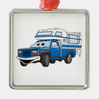 Blue Pick Up Camper Cartoon Square Metal Christmas Ornament