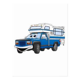 Blue Pick Up Camper Cartoon Postcard