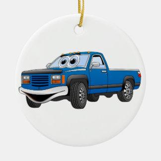 Blue Pick Up Truck Cartoon Ceramic Ornament