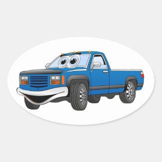 Blue Pick Up Truck Cartoon Sticker