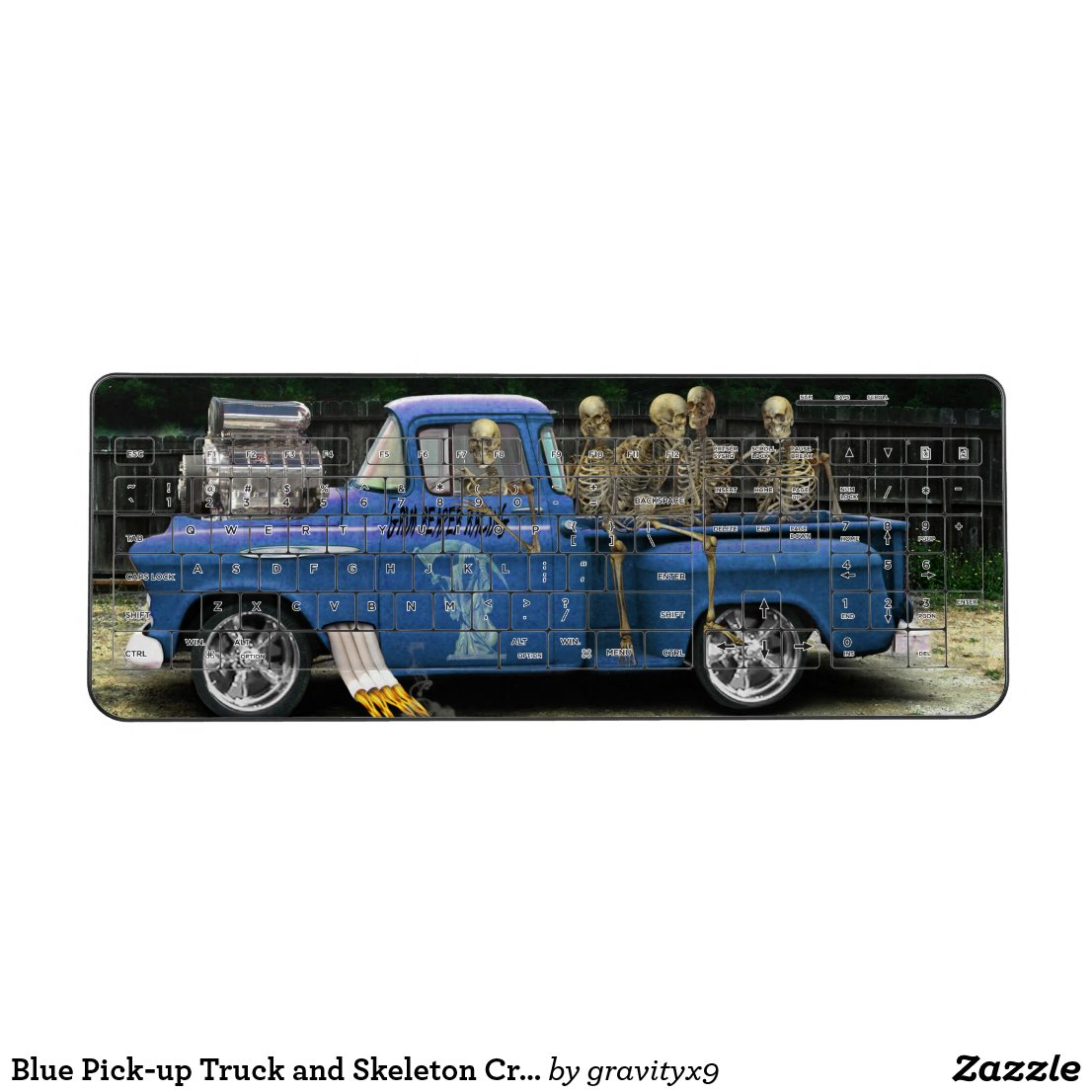 Blue Pick-up Truck with Crew Wireless Keyboard