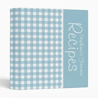 Blue Picnic Gingham Personalized Recipe Binder