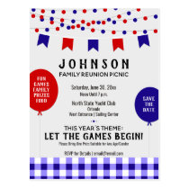 Blue Picnic Party |  Barbecue • Reunion • Birthday Postcard