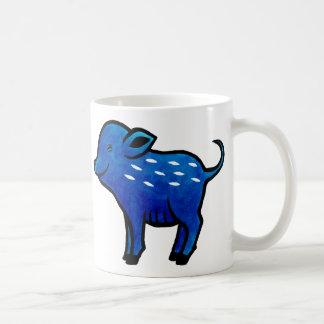 Blue Pig Mug Cute Pig Art Unique Pig Graphic Mug
