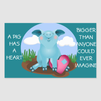 Blue pig with heart sticker