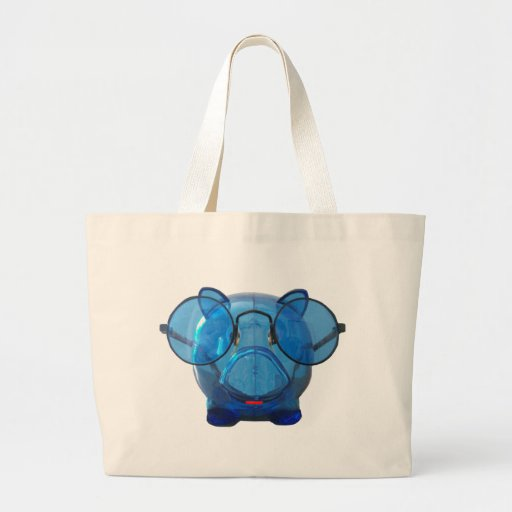 Blue Piggy Bank with Glasses Jumbo Tote Bag