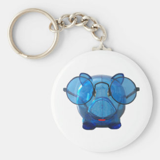 Blue Piggy Bank with Glasses Keychain
