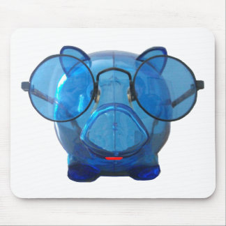 Blue Piggy Bank with Glasses Mouse Pad