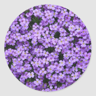 Blue Pillow Flowers Classic Round Sticker