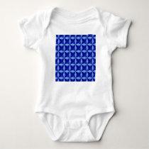 Blue Pillowed Squares Pattern Baby Bodysuit