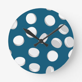 blue pills drugs round wall clocks