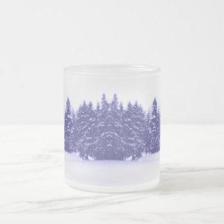 Blue Pine Line 10 Oz Frosted Glass Coffee Mug