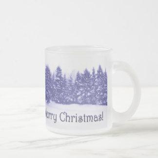 Blue Pine Line Blue Text 10 Oz Frosted Glass Coffee Mug