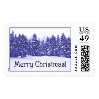 Blue Pine Line Blue Text Postage