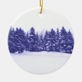 Blue Pine Line Double-Sided Ceramic Round Christmas Ornament