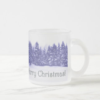 Blue Pine Line Silvery Text 10 Oz Frosted Glass Coffee Mug
