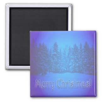 Blue Pine Trees Clear Text 2 Inch Square Magnet