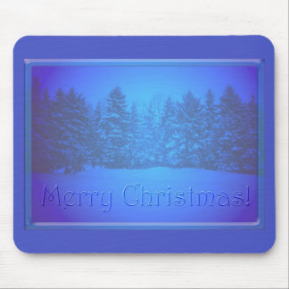Blue Pine Trees Clear Text Mouse Pad