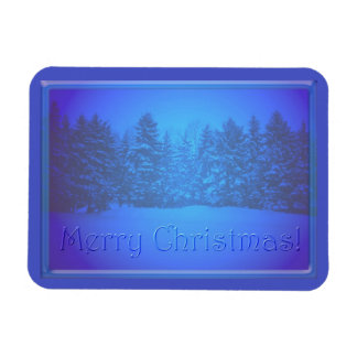 Blue Pine Trees Clear Text Rectangular Photo Magnet