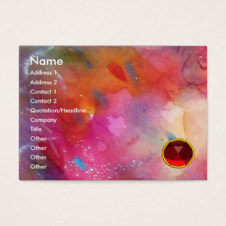 BLUE PINK ABSTRACT , Bright Red Ruby Gem Business Card