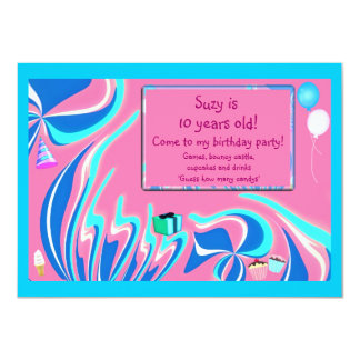 Blue, pink and aqua fantasy card