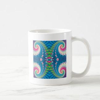 Blue Pink and Green Spiral Fractal Coffee Mug