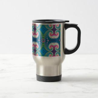 Blue Pink and Green Spiral Fractal Travel Mug