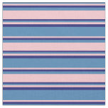 [ Thumbnail: Blue, Pink, and Midnight Blue Lined Pattern Fabric ]