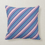 [ Thumbnail: Blue, Pink, and Midnight Blue Lined Pattern Pillow ]