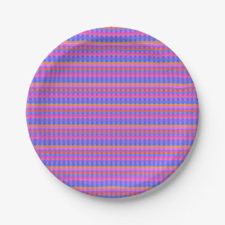 Blue Pink and orange lined Paper Plate