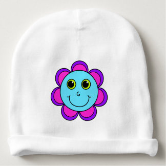 Blue Pink and Purple Flower Smiley Face Baby Beanie