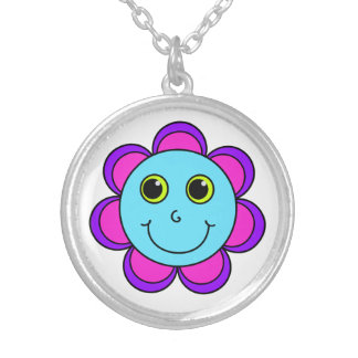 Blue Pink and Purple Flower Smiley Face Silver Plated Necklace