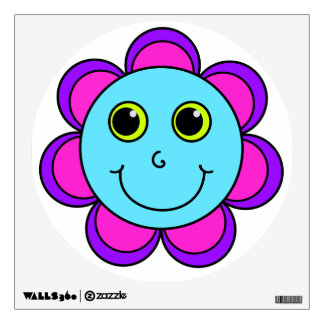 Blue Pink and Purple Flower Smiley Face Wall Decal