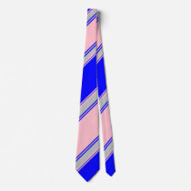 Blue Pink and Silver Alternating Striped Tie