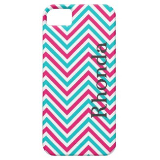 Blue, Pink and White Chevron iPhone 5 Case