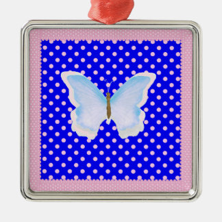 Blue Pink and White Polka Dots Butterfly Metal Ornament