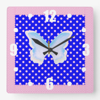 Blue Pink and White Polka Dots Butterfly Square Wall Clock
