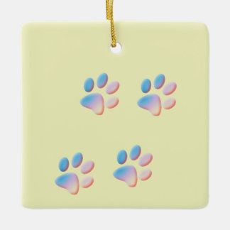 Blue Pink and Yellow Gradient Paw Prints Ceramic Ornament