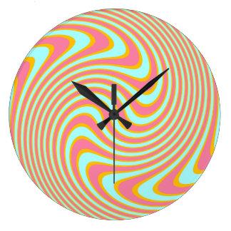 Blue Pink and Yellow Swirly Stripes Wall Clock