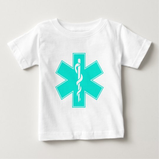 Blue Pink Aqua Baby Hot  Nurse EMS Star of Life Baby T-Shirt