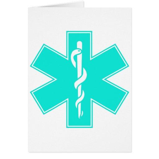 Blue Pink Aqua Baby Hot  Nurse EMS Star of Life Greeting Card