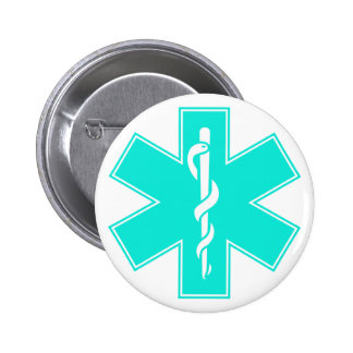 Blue Pink Aqua Baby Hot  Nurse EMS Star of Life Pinback Button