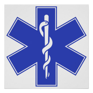 Blue Pink Aqua Baby Hot  Nurse EMS Star of Life Poster